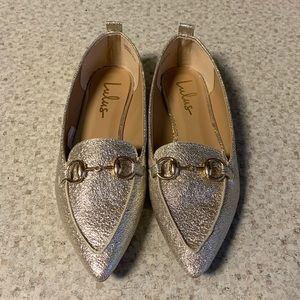 Lulu's Gold Loafers. Size 7.
